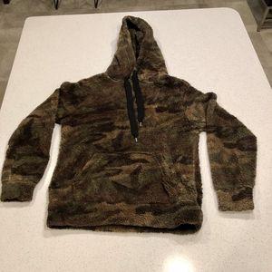 Rewash Camo Sherpa Pullover Hoodie